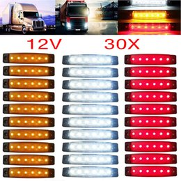 2019 24v белые светодиодные фонари 30pcs 12/24V 6 LED Red+White+Yellow Truck Trailer Pickup Side Marker Indicators Light скидка 24v белые светодиодные фонари