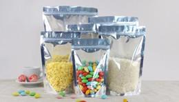 2019 metallische beutelverpackung 2000 Stücke Aufstehen Klar Aluminiumfolie Zip-Lock-Tasche, silbrig Metallic Kunststoff Verpackung Beutel für Lebensmittel Tee Süßigkeiten Cookie Backen