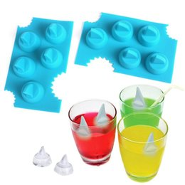 Wholesale Mould Shapes - Creative Silicone Ice Cube Tray Shark Fin Shape Silica Gel Cake Mold Easy To Clean Baking Moulds Blue 2 7am B