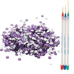 disegni rotondi Sconti Nail Art Design Set Liner Pittura UV lucidatura Pen Brush + Shining Crystal Round Flatback Strass Decorazioni
