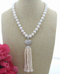 "Wholesale Keshi Pearl White - FC032103 20"" Natural White Keshi Pearl CZ Pendant Necklace"