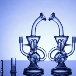 2019 pipe à impulsions double recycleur bong scientifique phonix verre bong klein recycleur de vapeur plate-forme pétrolière verre tuyau d'eau impulsion bio dab plate-forme pétrolière bong verre narguilés promotion pipe à impulsions