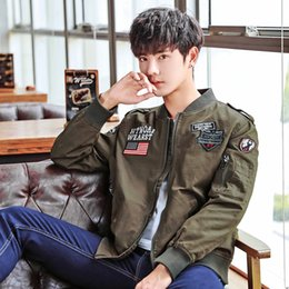 2019 koreanisches baseballhemd Herbst neue koreanische Version der Selbst-Kultivierung Männer Jugend Kragen dünnen Abschnitt Clip Überwindung Jacke Baseball-Shirt lässig Jacke rabatt koreanisches baseballhemd