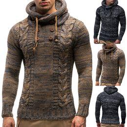 Куртки из водолазки онлайн-Дизайнер Мужчины свитер осень зима пуловеры Вязаные пальто с капюшоном Джемпер Свитера Куртки и пиджаки вскользь тонкой водолазки высокое качество