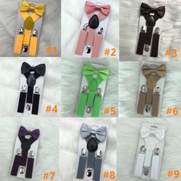Pajaritas tirantes online-Kids Suspenders Bow Tie Set para 1-10T Baby Braces Elastic Y-back Boys Girls Suspenders accesorios 23 colores