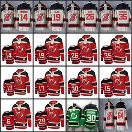 Hoodie do diabo vermelho on-line-Hóquei dos velhos tempos dos homens Nova Jersey Devils 13 Mike Cammalleri 19 Travis Zajac 14 Adam Henrique 30 Martin Brodeur 35 Cory Schneider moletom com capuz Vermelho