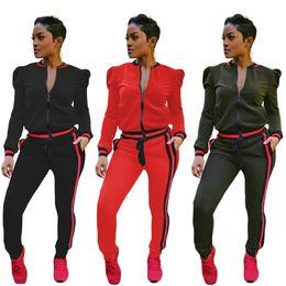 Schwarze damen trainingsanzüge online-Womens Casual Fashion Herbst Frühling langärmelige zweiteilige Jogger Set Damen Herbst Trainingsanzug Sweat-Anzüge schwarz rot plus Größe S-3XL