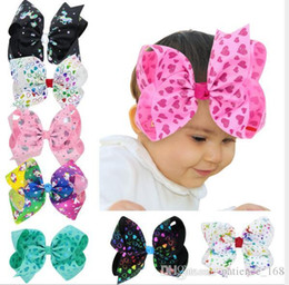 Wholesale New Hair Bow Styles - 8 colors 2018 new style Hot selling baby girl Love cartoon animals Dazzling color bow hairpin Children Headwear girls Hair Accessories