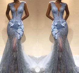 Wholesale Grey V Neck Dress - Silver Grey Lace 2018 Mermaid Evening Dresses Sexy Deep V Neck Prom Dresses Illusion Party Gowns