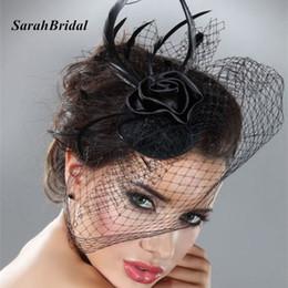 Mini sombrero nupcial velo de jaula de la boda con negro colorete de plumas  Fascinator negro sombrero de la flor del pelo de tul en Stock 18057 1f68378fd8e