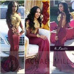 Wholesale Wine Pearls - 2018 Sexy Black Girl Prom Dresses Mermaid Burgundy Wine Red with Gold Appliques Long Evening Dress Party Gowns