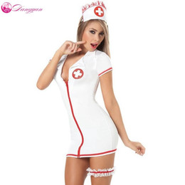 Wholesale Sexy Erotic Nurse - 2018 DangYan plus size sexy teddy nurse costume with leg belt SM Cosplay sexy costumes erotic dress adult sexy lingerie
