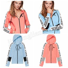 Wholesale pink girls cardigan - Women PINK letter print zipper Cardigan Hoodie 2018 spring autumn Coat women pink Outwear Maternity Tops MMA237