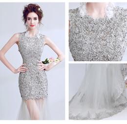 Свадебные платья установлены талии онлайн-Великолепная русалка вышивка кружева цветок полые свадебные платья подходят талии привет-ло коктейльное вечернее платье выпускного вечера празднование Emcee платье