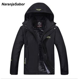 Wholesale Add Winter Coats - NaranjaSabor 2017 Autumn Winter Mens Jackets Add Fleece Thick Coats Men's Windbreaker Breathable Waterproof Mens Brand Clothing