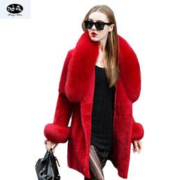 Tesouras grandes on-line-HongMiao 2018 Nova Moda Inverno Roupas Casaco De Pele Falso Blusão Alta Imitação De Ovelhas De Corte De Pele De Raposa Grande Fox Gola Outer