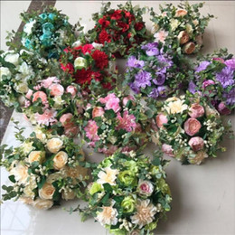 Wholesale Chinese Roads - New Style Rose Artificial Flower Chinese herbaceous peony Wedding Road Lead Wedding Centerpiece Home Decoration 12 Colors