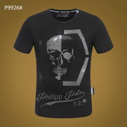 рубашки супер герои Скидка Уличная мужская повседневная футболка с изображением черепа каратели Super Hero Футболка с принтом футболка Phillip Plain с коротким рукавом