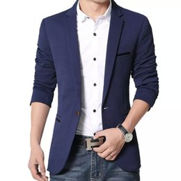 abiti da sposa coreani neri Sconti All'ingrosso-Giacca da uomo casual coreana slim fit in cotone giacca nera blu beige plus size M a 5XL Blazer da uomo Cappotto da uomo Abito da sposa