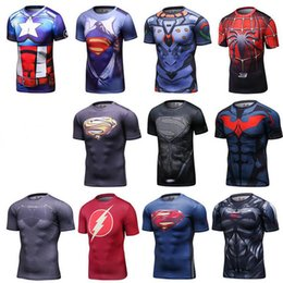 Wholesale Super Hero Clothes - Super hero 3D printed T-shirt Marvel Captain America Super Hero lycra compression tights T shirt Men fitness clothing short sleeves