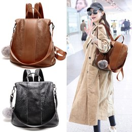 Mochilas negras para chicas adolescentes online-Mochila PU Leather Travel Bags Vintage Girls Black Brown Ocio bolso de viaje para adolescentes G143L