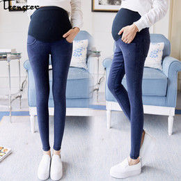 Teenster Vêtements de maternité Pantalons de grossesse Automne Printemps Mode Jeans Enceintes Élastique Denim Soutien Bell Premama Pantalon ? partir de fabricateur