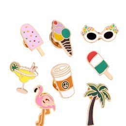 2019 accesorios de coco Coconut Tree Flamingo Broches de Metal Helado Metal pins Beach Style Brooches diseño lindo Accesorios de Joyería de Moda accesorios de coco baratos