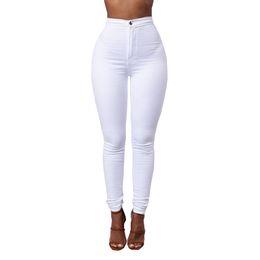 Jeans blancos mujeres online-Color caramelo Jeans pitillo Mujer Blanco Negro Pantalones vaqueros de cintura alta Render Pantalones largos Vintage Pantalones lápiz Denim Stretch Feminino