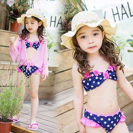 26940b28e7b0f New Baby Girls Summer Beach Dot Two-pieces Bikini Set Prevent bask Coat  Tops 3pcs Set Girl Toddler Cute Swimwear Swimsuit Bathing Suit A9187