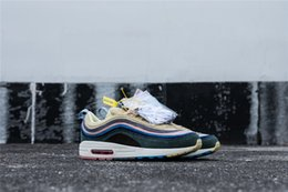 Wholesale Green Crystal Shoes - HYBRID 97 SEAN WOTHERSPOON X SUNDEFEATED X OLIVE GREEN CRYSTAL DIAMOND MEN RUNNING SHOES 2018 MARCH SNEAKERS SPORT SHOES