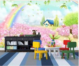 Fiabe murale online-Carta da parati 3d foto murale personalizzata Camera dei bambini fantasia fiaba cottage cartoon casa dei fiori murales carta da parati per pareti 3 d