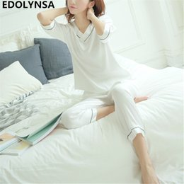 Wholesale Sexy Pyjamas For Women - Pyjamas For Women 2018 Solid Pajama Sets Women Comfortable Sexy Home Wear Vintage Indoor Clothing Long Pants Sleepwear #H464