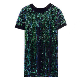 Wholesale dress size small free shipping - The new spring and summer evening dinner will be small dress dress fashion sequins size a loose short sleeved dress free shipping