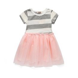 Wholesale Cute Casual Dresses For Kids - cute girl striped dress soft lace princess dresses for 2-8years girls kids children Summer lady style dress clothes