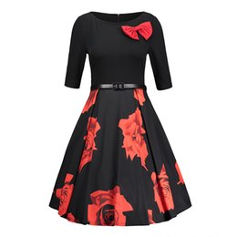 Wholesale Lady Ball Slim - Spring Print Casual Ball Gown Women Elegant Slim Floral Printing Ladies A Line Dresses Crew Neck Half Sleeve Black Dress