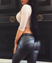 Wholesale Girls Sexy Tights - PU Yoga Pants For Women Sexy Heart Booty Sport Leggings Breathable Quick Dry Gym Trousers Black Sexy Push Up Yoga Leggings Plus Size