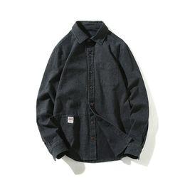 Голубая черная повседневная мужская рубашка онлайн-New Mens Casual Shirts Black Blue Color For Man's Wear Long Sleeve Slim Fit  Clothing Y1069