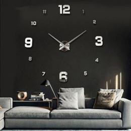 Canada Art 3D Moderne DIY Grande Horloge Murale Miroir Surface Autocollant Décor À La Maison Art Design cheap wall clock decor mirrors Offre