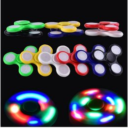 Wholesale Light Up Spin Top - 2017 LED Light Up Hand Spinners Fidget Spinner Top Quality Triangle Finger Spinning Top Colorful Decompression Fingers Gag Toys