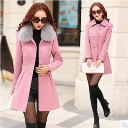Wholesale Korea Fashion Style Coat Woman - 2017 fashion winter jacket women Thicken long woolen coats Female Korea style Slim parka Detachable fur collar chaquetas mujer