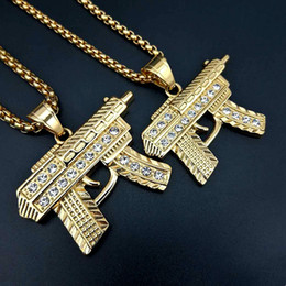 colares de diamantes finos Desconto 2018 Hip Hop Gun Pingente de Colar de Ouro 18 K Banhado A Prata Iced Out Cz Diamantes Charme Pingente de Qualidade Fina Cadeia Cuban