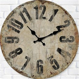 """Wholesale new design wall clock - New 6 Designs 14"""" Brief Wooden Antique Wall Clocks Stickers Home Decor Bedroom Decoration Wall Mirror wallpaper Household Craft Suppiles"""