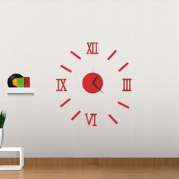 Wholesale Modern Bedroom Wall Decor - 3D Creatively Romae Digital Wall Clock Sticker Watch Modern Design Clock DIY Clocks On Wall Kitchen Clock Living Room Home Decor