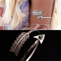 Wholesale vintage arrows - Wholesale- Bohemian Ethnic Upper Arm Bracelet Vintage Arrow Open Bangle Armlet Arm Cuff Personality Bangle Z-197