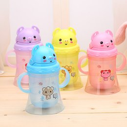 Wholesale Pig Cups - 300ml Cute Baby Cup Kids Children Pig Shape Learn Feeding Drinking Water Straw Handle Bottle Mamadeira Sippy Training Cup Baby F