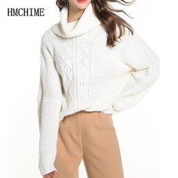 b614f7464f 2018 Autumn Winter Loose Women Sweater Turtleneck Long Sleeve Pullovers Female  Sweaters Fashion Ladies Cable-knit Shirt Hm1027