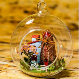 construir casa de vidrio Rebajas Envío gratis nuevo llega Diy casa de muñecas Mini bola de cristal modelo Kits de construcción hecho a mano casa de muñecas de juguete de regalo de Navidad