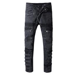 Wholesale Balmain Future Warrior biker Modelo jeans rock skinny Slim ripped Popular Cool patrón abigarrado verdadero pantalones diseñador hombres mujeres jeans