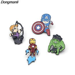 Wholesale captain america badge - P2385 Dongmanli 20pcs lot wholesale Avengers Iron Man Captain America Metal enamel Lapel pin Cute badge brooches Fans kids gifts
