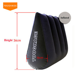 Wholesale Sex Wedges - Toughage Inflatable Sex Pillow Positions Adult Sex Sofa Bed Cushion Triangle Wedge Pad Sofa Toys Sex furniture Hold Pillow Free Shipping